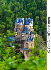 View from hill above of Eltz castle in Germany - View from...