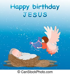 Baby jesus in a manger - Birthday baby Jesus with angel -...