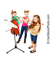 Boy and two girls playing on musical instruments