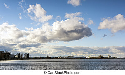 Skyline of cloudy sky in city port of Petrozavodsk, Karelia