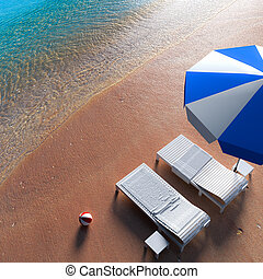 On the beach - 3d rendering a beach chair relaxing on the...
