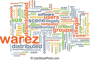 warez wordcloud concept illustration - Background text...