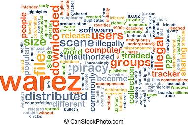 warez wordcloud concept illustration - Background text...
