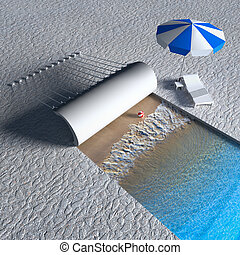 Open sea to rest - 3d rendering the idea to open sea in the...