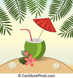 Summer design over beachscape design, vector illustration