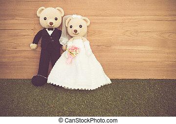 romántico, juguete, oso, en, boda, escena,