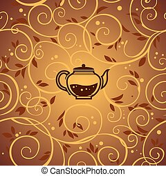 vector template with tea kettle and floral elements