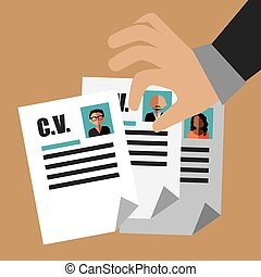 Human resources design over beige background, vector...