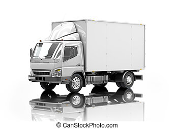 Delivery truck icon with shallow depth of field - 3d courier...