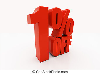 3D 1 percent - 1 percent off Discount 1 3D illustration