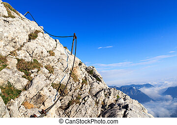 Via Ferrata at Watzmann - The steel cable from the via...