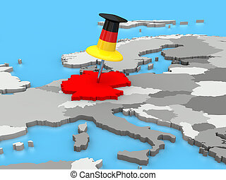 Germany pinned to map of Europe - Germany attached to the...