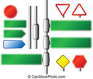 Roadsigns - Illustration of several empty directional...