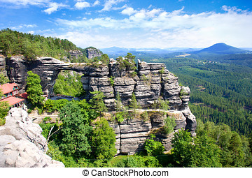 Pravcicka gate the biggest natural arch in Europe, Czech -...