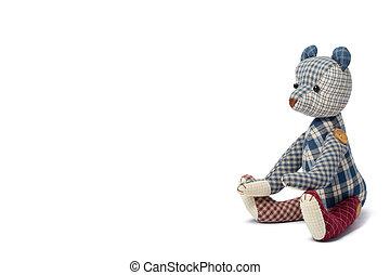 urso, patchwork, isolado, ligado, branca,