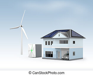 Stationary battery system and house. Concept for home energy...