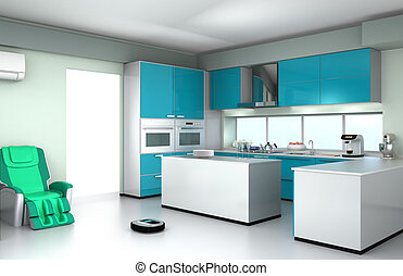 Robotic vacuum cleaner in kitchen - Robotic vacuum cleaner...