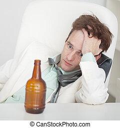 Pessoa, sofre, ressaca, sentando, tabela