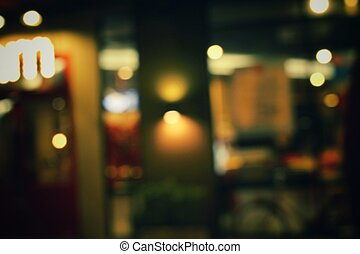 Blurred of restaurant at night