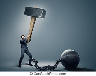 Conceptual photo of an employee trying to quit a job -...