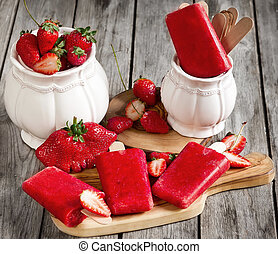Strawberry popsicles - Strawberry homemade ice pops -...