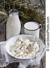 Dairy products and grains - Milk, cottage cheese, wheat and...
