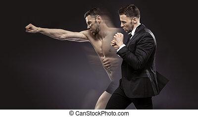 conceptual portrait of the dual man - conceptual portrait of...