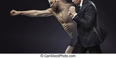 Concetpual picture of the dual man - Concetpual portrait of...