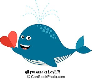Cute Blue Whale with Heart. Vector illustration about love...