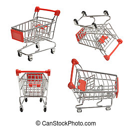 shoping carts - set of four shoping carts isolated on white