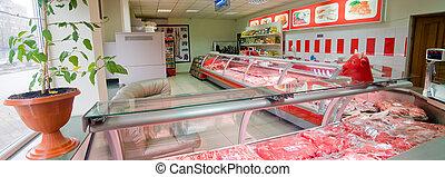 interior, carnicero, Tienda