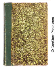 grunge book - old grunge green book over white vertical