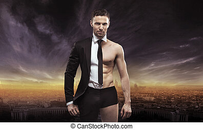 Conceptual image of a handsome businessman