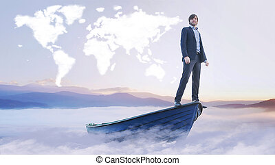 jovem, gerente, sob, a, nuvem, mundo, mapa,