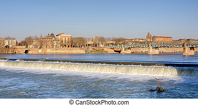 Toulouse cityscape - View on riverbanks of Toulouse, France