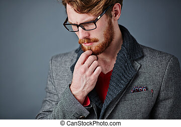 Guy in smart casual - Pensive young man in smart casualwear...