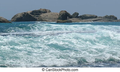 landscape with ocean waves and rocks