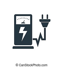 icon electrogas station - Electric car charging station sign...