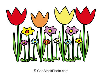 tulips - nice illustration of tulips and other flowers...