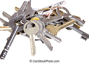 bunch of keys on white background