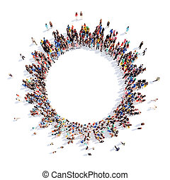 people in the form of gears. - Large group of people in the...