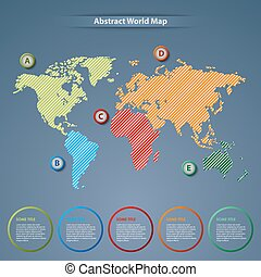 Abstract world map with pointers