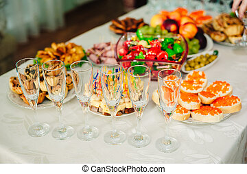 Table with food and drink - catering services background...