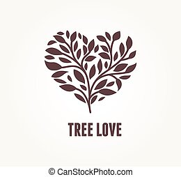 Tree heart - vector icon - Tree heart with leaves. Vector...