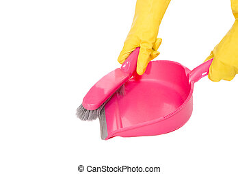 pink dustpan on white background