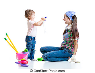 mother with kid cleaning room and having fun - mother with...