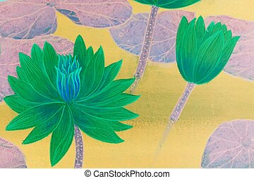 abstract green lotus flowers