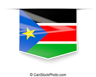 Square label with flag of south sudan isolated on white
