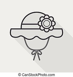 Women hat flat icon with long shadow,eps10