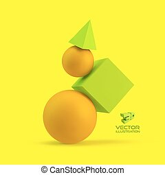 3d geometrical composition. Abstract vector illustration....